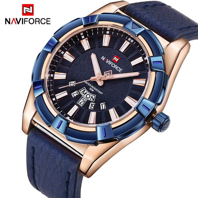 2018 NEUE NAVIFORCE Luxus-marken-männer Quarzuhr Uhren Männer Mode Lässig Leder Sportuhr Mann Datum Uhr Relogio Masculino