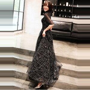 Image 3 - אונליין שמלת ערב חצי שרוול הניצוץ כחול אופנה חדשה פורמליות שמלות נשף אלגנטי רוכסן רצפת אורך נשים המפלגה שמלת E066