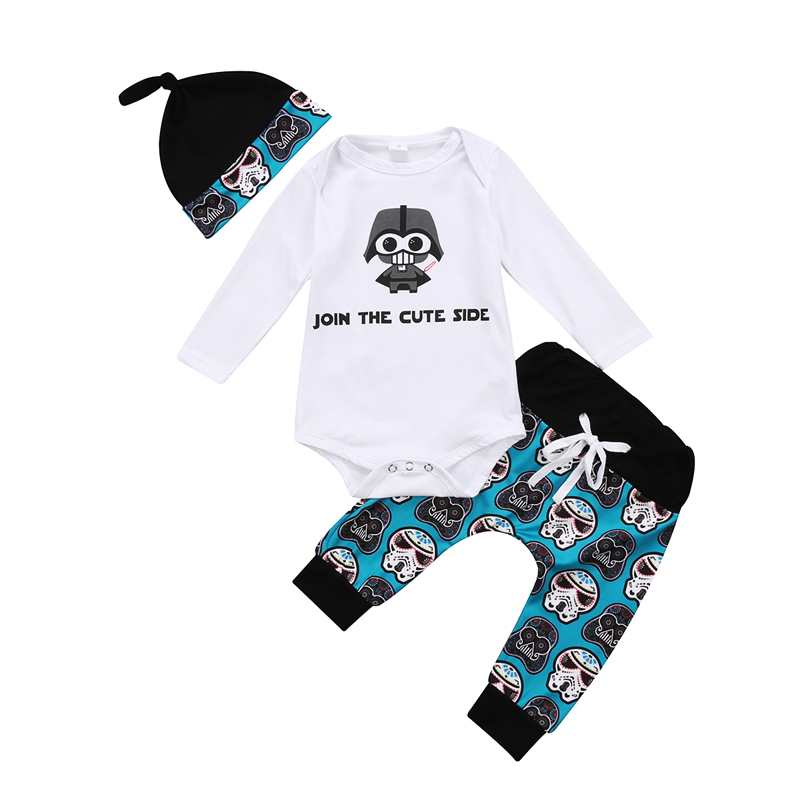 New Fashion Newborn Baby Boy Girl Clothes Long Sleeve O-Neck Tops Romper Pants Hat 3Pcs Outfits Set Clothes