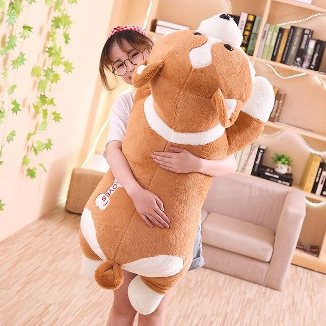 55/95cm güzel Corgi köpek peluş oyuncak dolması yumuşak hayvan karikatür yastık çocuklar çocuklar için en iyi hediye