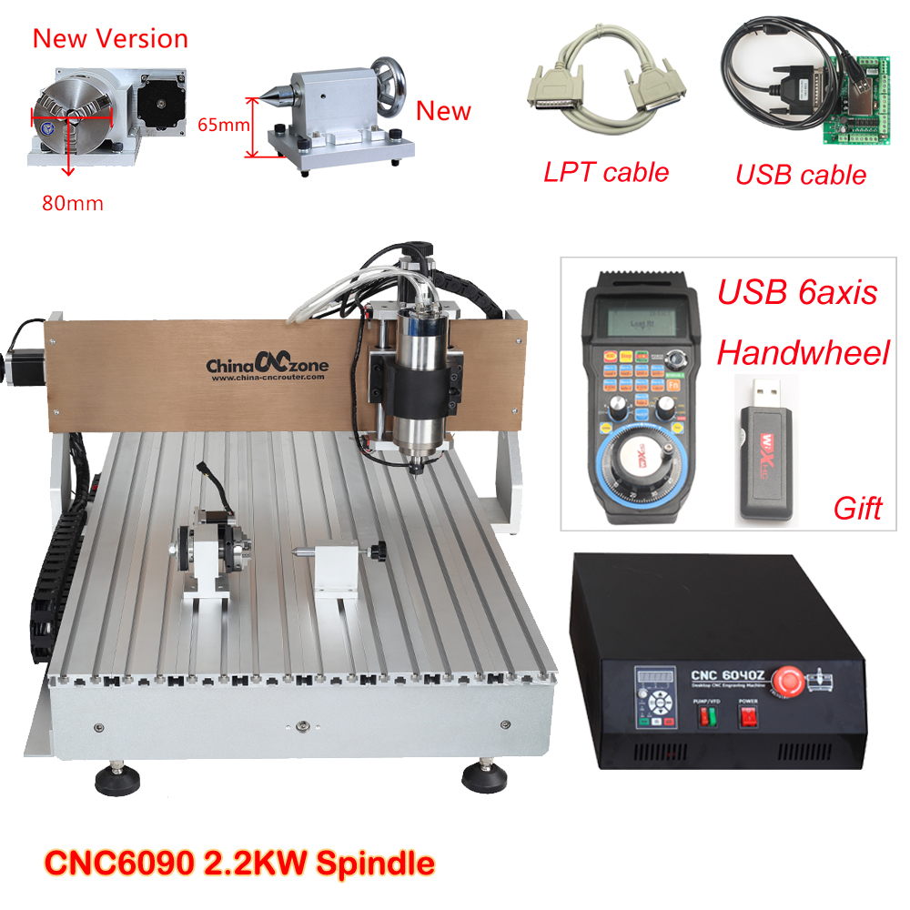 CNC 6090 Router Milling Engraving Machine 3axis/4axis 2200W USB/Parallel Port Water Cooling Carving Ball Screw Cutting Machine jft professional wood cutting machine 3 axis cnc router usb 2 0 port engraver machine high precision ball screw 6090