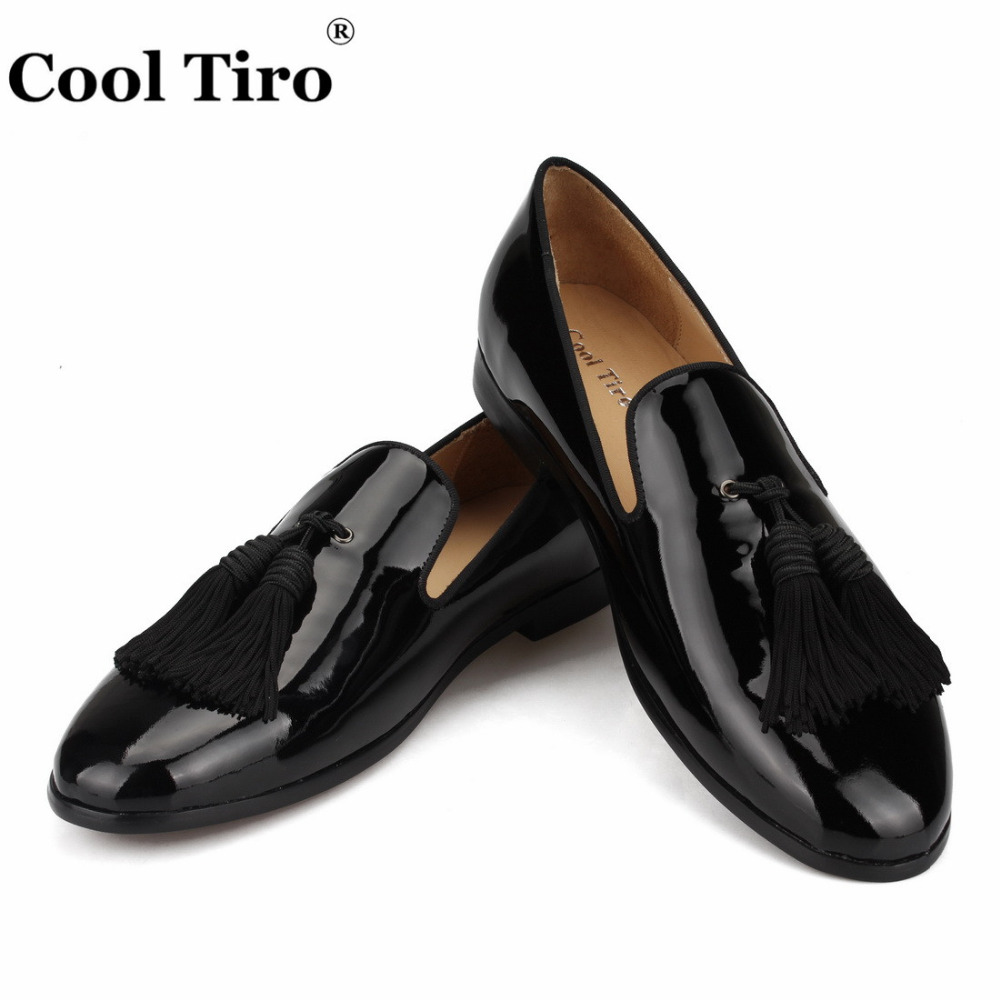 COOL TIRO Black Patent Leather Loafers Men Moccasins Tassels Slippers Wedding prom Men s Dress Shoes