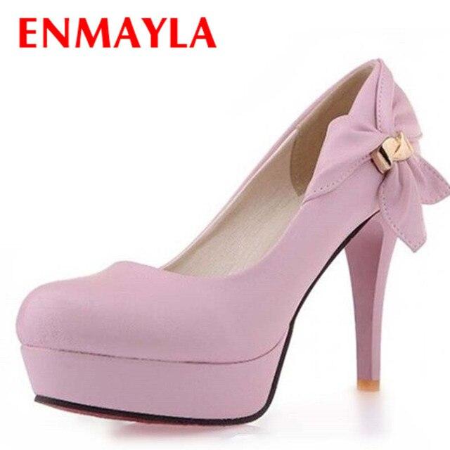 20ee1a0da ENMAYLA Preto Luz Azul Rosa Bege Nova Moda Sexy Senhoras de Casamento  Sapatos de Salto Alto