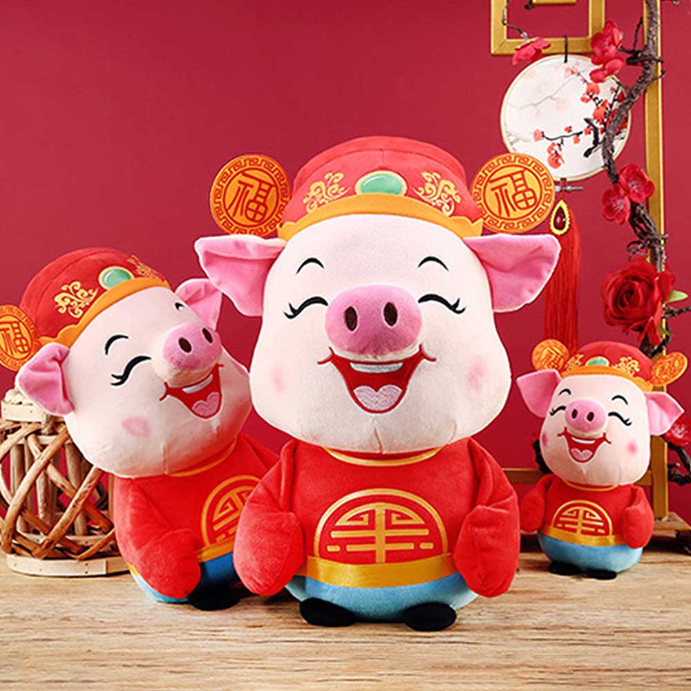 2019 Chinese Zodiac Pig Soft Plush Pigs Doll Toys For Kids Baby New Year Gift