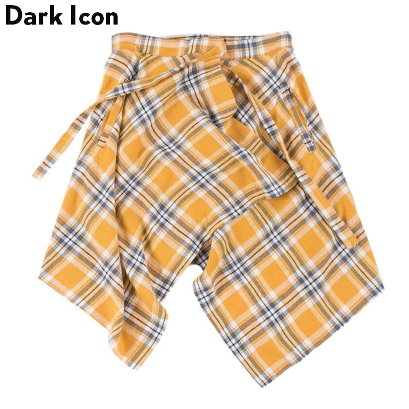 Dark Icon Side Pocket Plaid Skirt Men Irregular Hemline Men's Skirts One Piece One Size