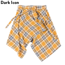 Dark Icon Side Pocket Plaid Skirt Men Irregular Hemline Mens Skirts One Piece Size