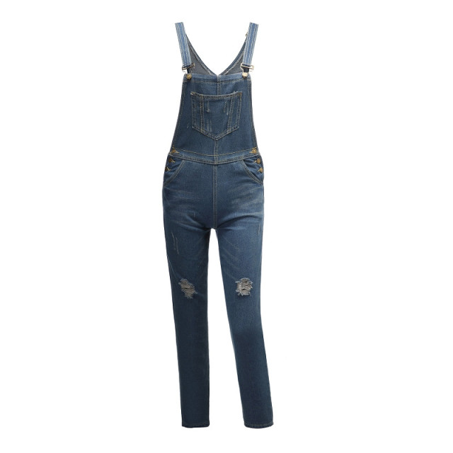 2019 new fashion hole denim bib female commuter high street casual jeans woman high waist jeans Bib pants denim overalls