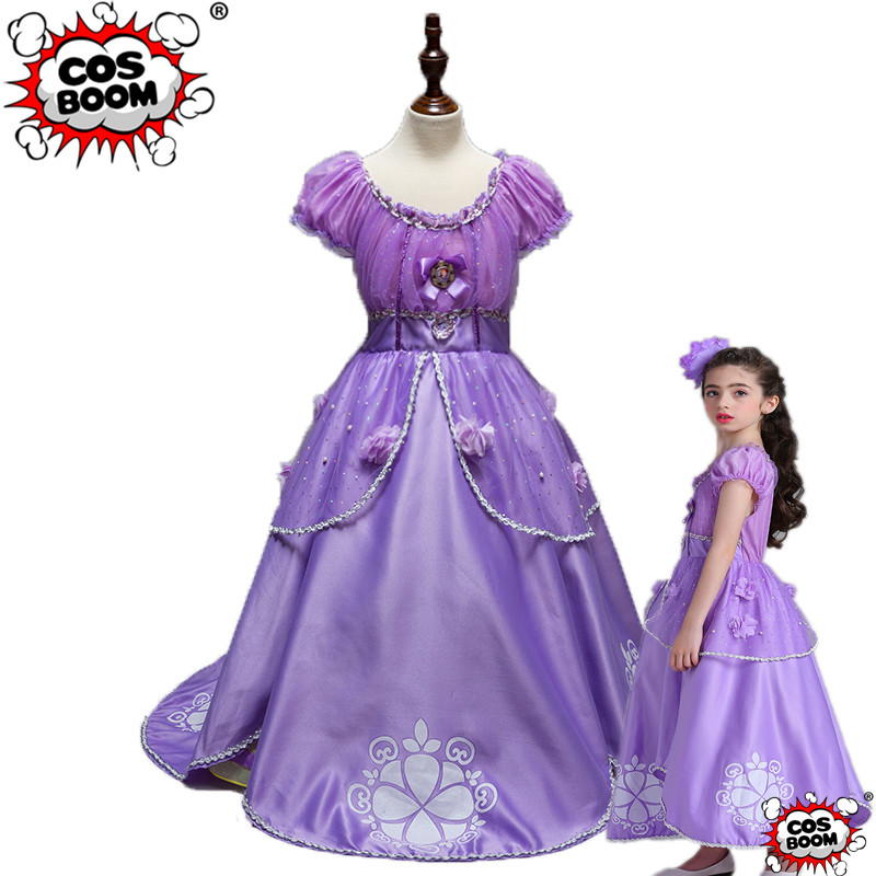 COSBOOM Girls Sofia the First Princess Dress Cosplay Costume Kids Party Fancy Dress Princess Sofia Halloween Costume