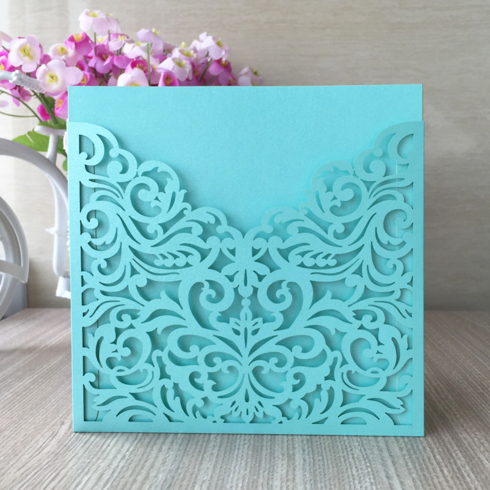 Hot Sale Tiffany Blue Pocket Design Laser Cut Wedding Invitation Card Elegant Romantic Greeting Card Europe Pocket Style Card Packages Card Idcard Tools Aliexpress