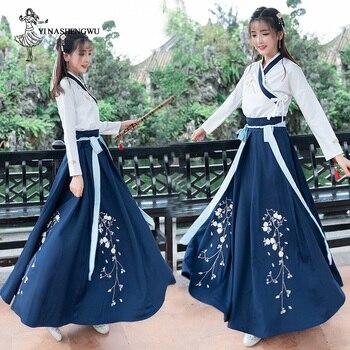 أزياء نسائية من Hanfu Mulheres مصنوعة من قماش البرقوق هانفو ، تنورة خيالية جديدة وأنيقة ، ملابس صينية على شكل جناح هواتشينغ