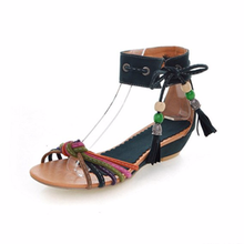 LISM Sandals Womens shoes large size low-heeled sandals Bohemian ethnic color stripe weaving handmade Roman