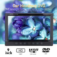 1080P LCD Screen DVD Car Headrest Monitor Player support USB, SD function Game Function 9inch Auto Headrest Monitor