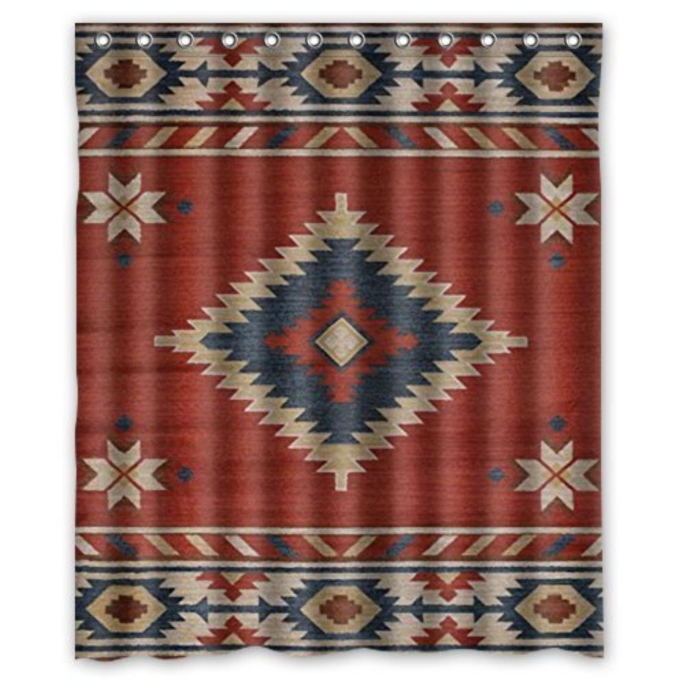 Southwest Native American Custom Shower Curtain Bathroom Decor Polyester Shower Curtain 60(W)x72(H)-Inch with 12 holes to which