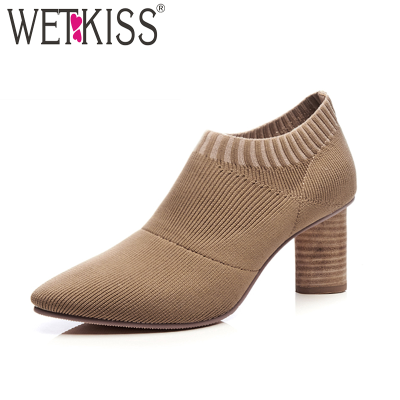 WETKISS Weave Knit Socks Ankle Boots Women 2018 Spring Fashion High Heels Ladies Shoes Pointed Toe Wood Strange Style Footwear serene handmade winter warm socks boots fashion british style leather retro tooling ankle men shoes size38 44 snow male footwear