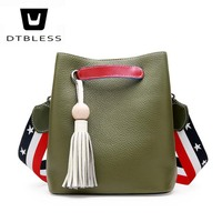 DTBLESS 2018 Women S Colorful Strap Bucket Bag Women Quality Genuine Leather Shoulder Bag Brand Desinger