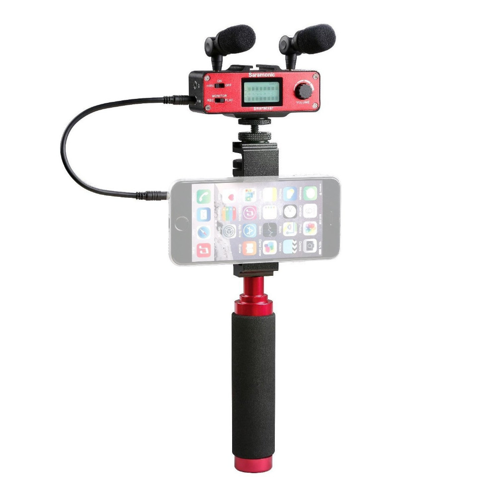 Saramonic SmartMixer font b Smartphone b font Video Film microphone Handheld Recording Stereo Microphone Rig for