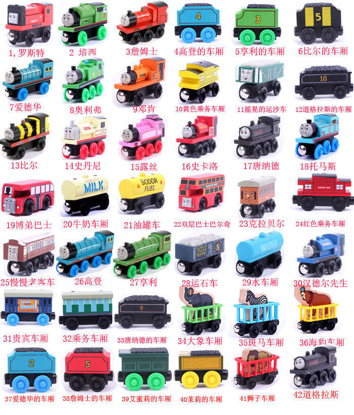 Candice guo wooden model toy wood THOMAS & friends locomotive DIY magnetic train birthday gift christmas present random 6pcs/lot 97pcs diy wooden tractor mechanical transmission model assembly puzzle toy for ugears gift
