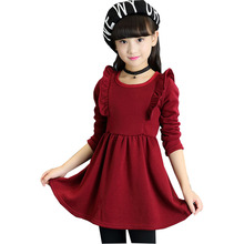 2016 new spring and autumn wear long sleeved dress in the middle of the big child Princess cabot m princess in the middle