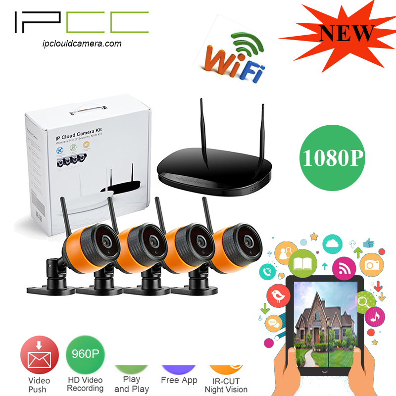 IPCC 4CH 1080P WIFI NVR Security Wireless Network System 2.0mp ip camera With Day Night CMOS Surveillance camera kit remote view