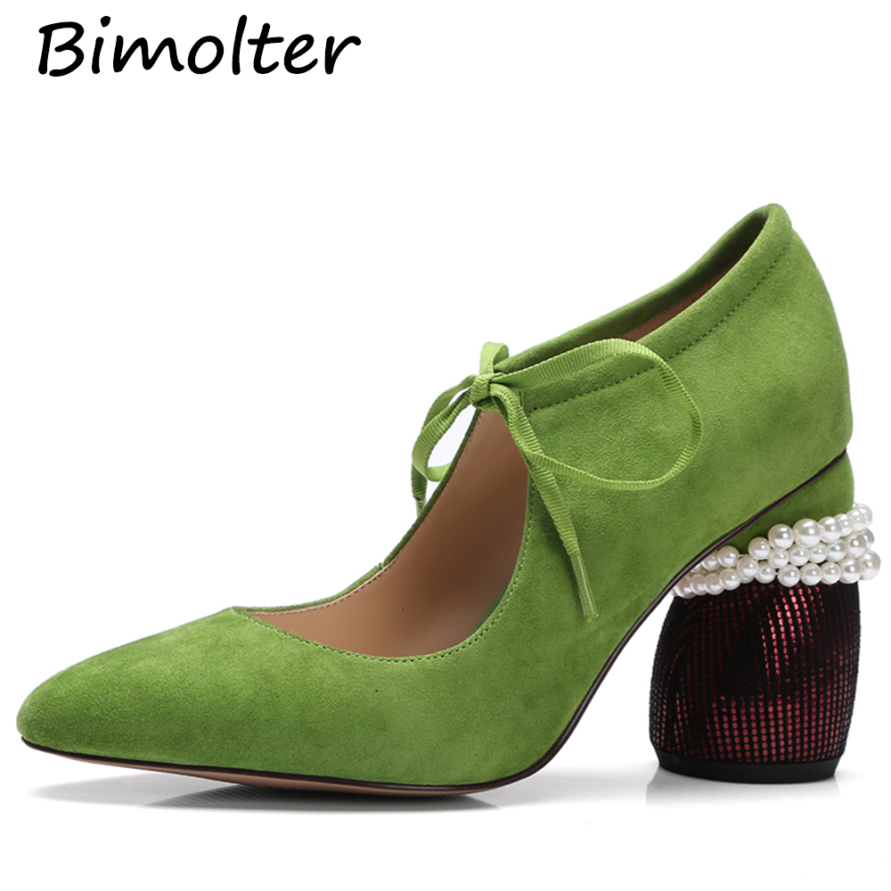 Bimolter Girls Sweet Mary Jane High Heel Pumps Quality Sheep Suede Leather New Fashion Women Street Shoes  LCEA022