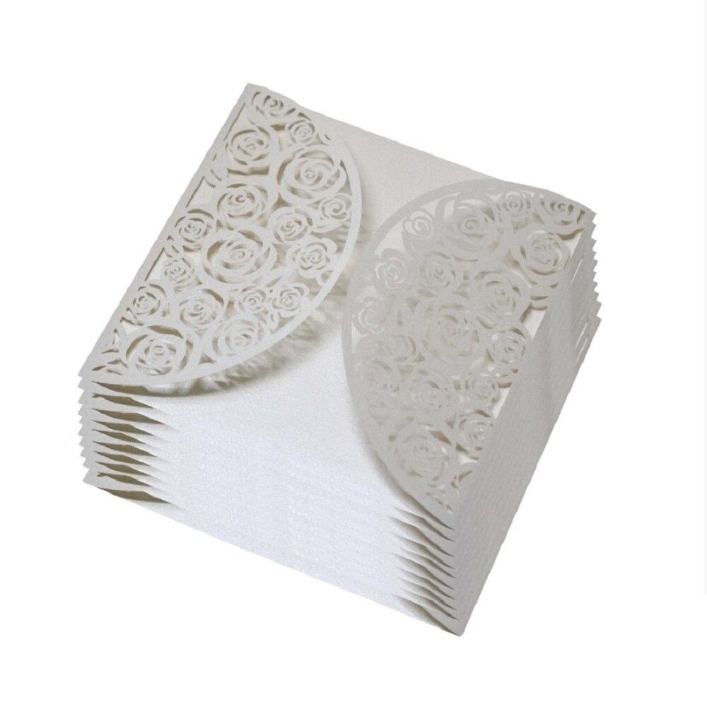 Wedding Invitations Cover: 100pcs White Laser Cut Wedding Invitations Cover Lace