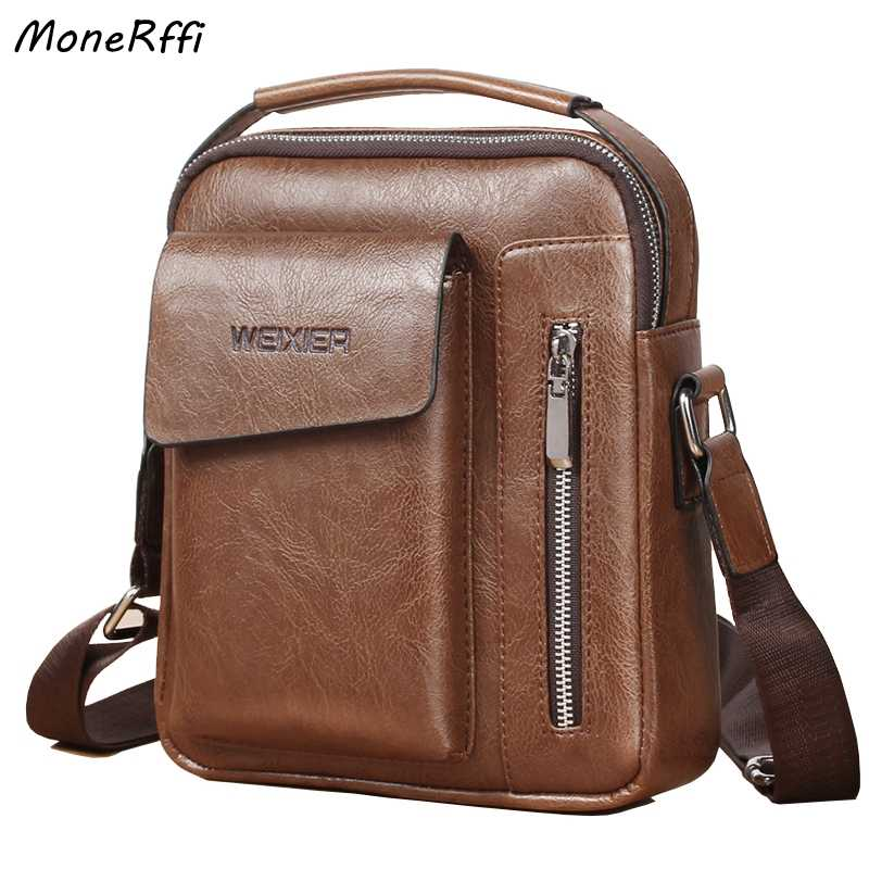 MoneRffi Men Tote Bags Set Fashion Man Vintage Leather Messenger Bag Male Cross Body Shoulder Business Bags For Men bolsas male