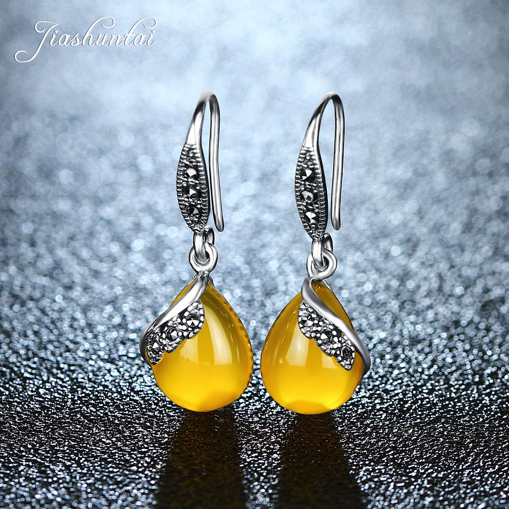 JIASHUNTAI Retro 100% 925 Sterling Silver Earring For Women Vintage Natural Stones Earrings female Thai Silver Jewelry
