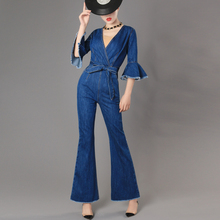 Top Quality Brand jumpsuits jeans European style Women Jumpsuit Denim Overalls Shirt Rompers Girls flares Pants Jeans Bodysuit