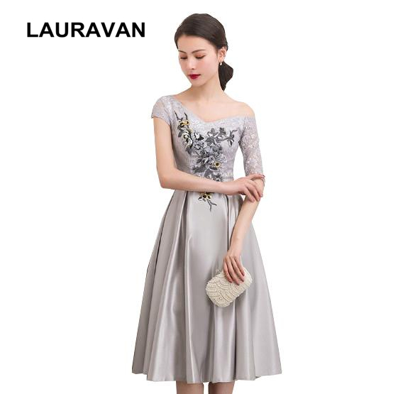 sexy gray modest corset   prom     dress   lace short grey elegant tea   dresses   party   dresses   girl 2019 satin ball gown with sleeves