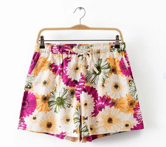 3 XLwomen denim 2016 verão moda de qualidade cintura elástica floral impresso algodão roupa curta xxxxl5XL impressão shorts