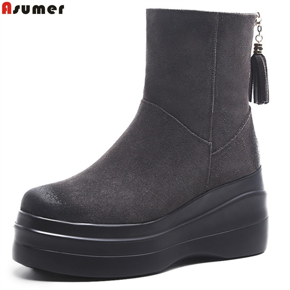 ASUMER black gray fashion winter new 2018 ladies shoes round toe zipper platform wedges shoes women suede leather ankle bootsASUMER black gray fashion winter new 2018 ladies shoes round toe zipper platform wedges shoes women suede leather ankle boots