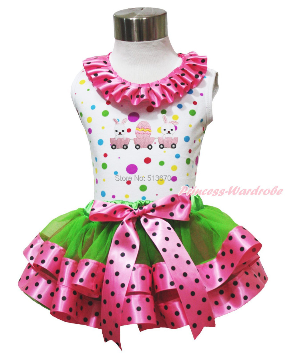 Easter Egg Bunny Rabbit Train White Rainbow Top Green Hot Pink Black Dots Bows Satin Trim Girl Skirt Outfit 1-8Y MAPSA0511 easter sparkle 3rd hot pink white dot top rainbow stripe skirt set 1 8y mamh170