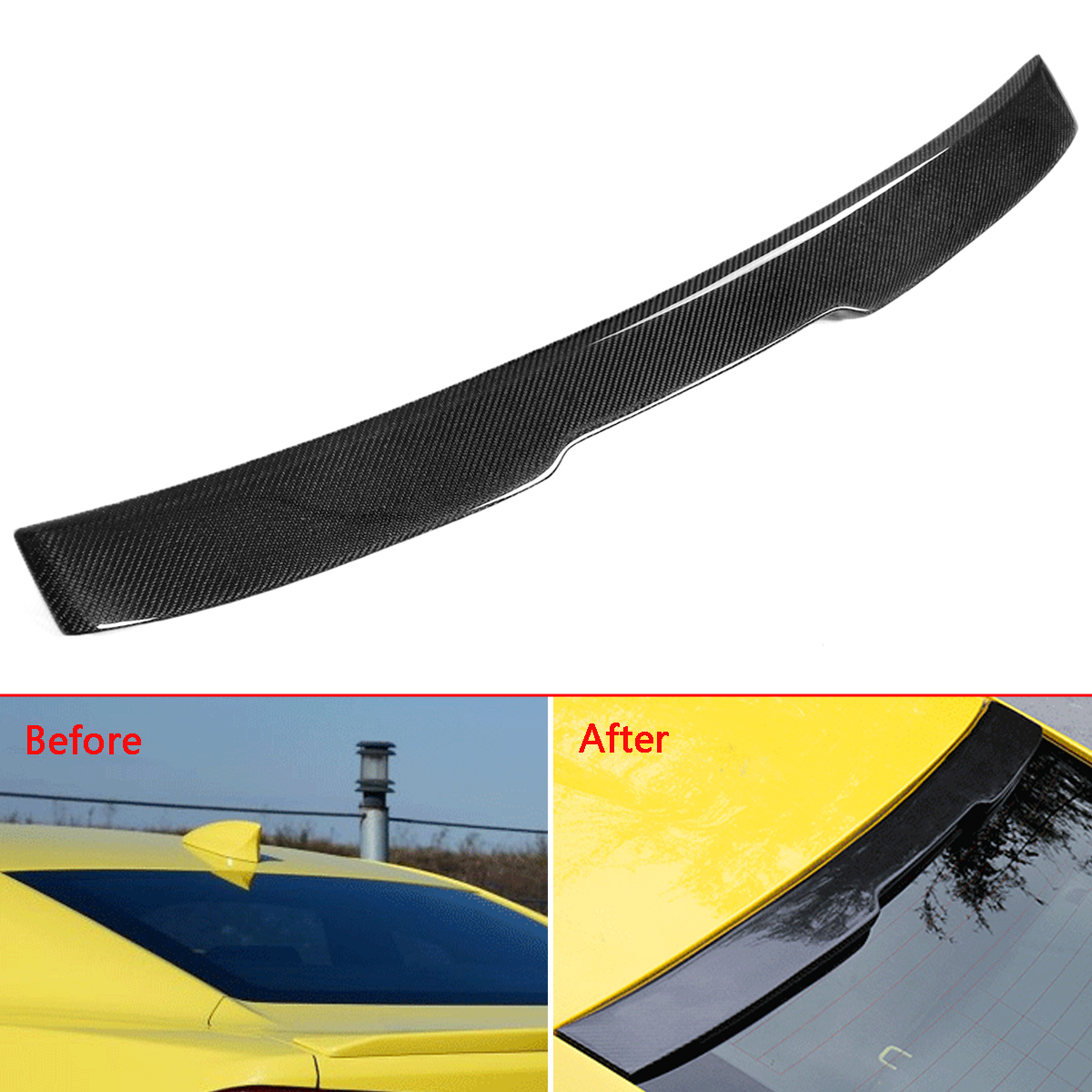 1x Carbon Fiber Rear Roof Spoiler Car Rear Wing Spoiler For Chevy Camaro LT RS Sport 2016-2018 Auto Spoiler Rear Window Wing Car стоимость