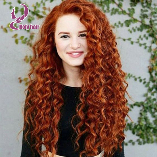 Orange Blonde Full Lace Wigs For White Women 180 Density Brazilian Virgin Hair Curly Glueless