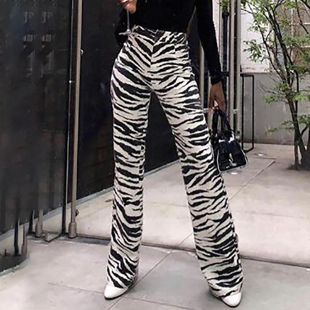 BKLD Womens Trousers 2018 High Waist   Wide     Leg     Pants   Zebra Striped Printed Fashion Streetwear   Pants   Women Long Bottoms   Pants