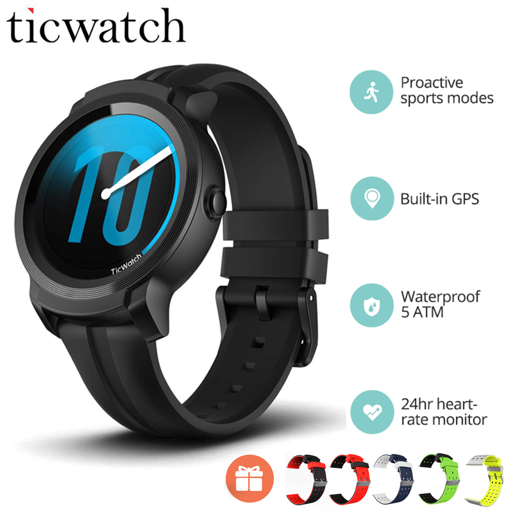 Original nouveau Ticwatch E2 montre intelligente GPS montre Strava Wear OS par Google 5ATM étanche 24hr moniteur de fréquence cardiaque Smartwatch hommes