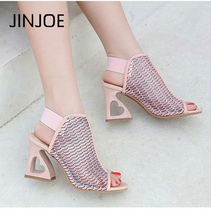 JINJOE 2018 New Style Shoes Woman Fish Mouth Rome Elastic Band High-heeled Shoes Heteromorphic Heel Heart-shaped Heel Pumps