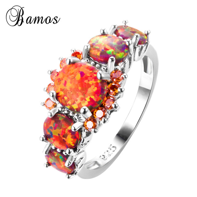 Bamos Brand Fashion Round Orange Fire Opal Ring 100% Real 925 Sterling Silver Jewelry For Lady Christmas Gifts Luxury Rings