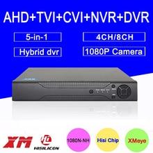 Metal Case Hi3521A XMeye 8CH/4CH 1080P 2MP Full HD Surveillance Video Recorder 5 in 1 Hybrid NVR TVI CVI AHD DVR Free Shipping