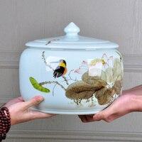 Jingdezhen hand painted ceramic tea box collection flower tea oil salt spice kitchen office storage tank