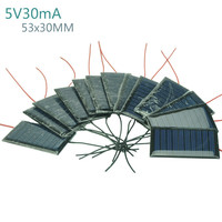 Aoshike 10Pcs Solar Panels Solar Battery Power Charging Solars DIY Electric Toy Materials Photovolta Charger 5V30mA 53x30MM