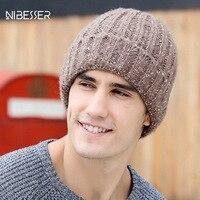 NIBESSER 2017 Brand Men Hats Warm Winter Bonnet Skullies Beanies Hats For Male Solid Outdoor Knitting Beanies Multicolors Caps