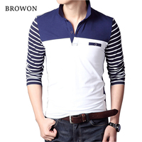 BROWON Spring Autumn Casual Men Long Sleeve T Shirt Cotton Elastic Slim Fit Dress T Shirt