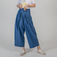 Summer Wide Leg Pants New Chic Style Solid Belted 2019 Women Loose Casual Ankle Length Pants Female Cotton Trousers