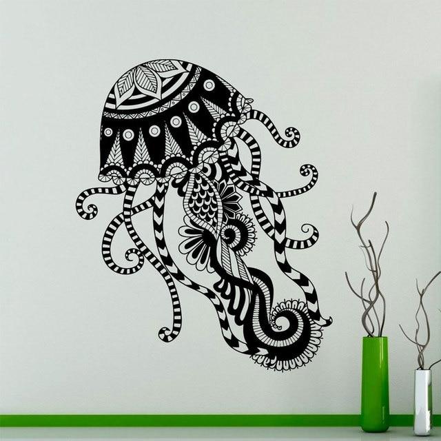 Jellyfish Pattern Wall Decal Marine Animals Vinyl Sticker Sea Home