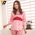 Women Fashion Silk Lace Sleepwear Satin Pijamas Plus Size Butterfly Print  Pajamas Set Spring Homewear M-XXL