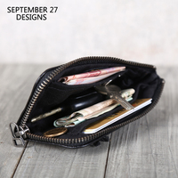 New Zipper Short Wallet Genuine Leather Handmade Soft Sheepskin Key Wallets Fashion Coin Purses Money Bag Credit Card Purse