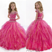 2019 New Perfect Flower Girls' Dresses Ball Gown Beads Ruffle Layered Organza Girl Pageant Gowns Custom Party Dress CH-1213 girls layered ruffle striped top
