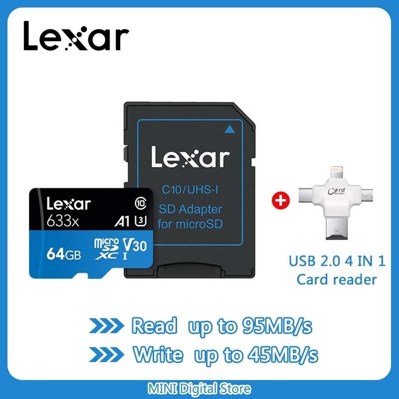 Carte mémoire Lexar 128GB 64GB U3 95 MB/S 32GB carte Micro sd Class10 UHS-1 TF flash cartes Microsd pour tablettes et caméras de sport