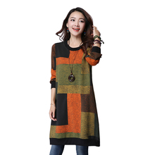 In The Autumn of 2017 New Large Size Women Vintage Prints In The Long fashion Loose Plus Size Women Clothing Winter Dress